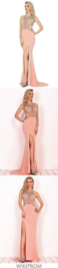 2019 Sexy Open Back Scoop Prom Dresses Mermaid With Beads Spandex, This dress could be custom made, there are no extra cost to do custom size and color Split Prom Dresses, Mermaid Prom Dresses, Elastic Satin, Fabric Swatches, Special Occasion Dresses, Custom Made, Homecoming, Tulle, Spandex