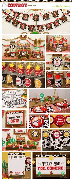 Cowboy Birthday Party Package Collection Set Mega by LeeLaaLoo, $35.00