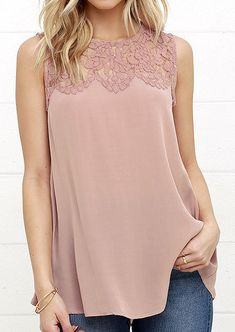 Solid Lace Chiffon Splicing Sleeveless Fashion Blouse - Fairyseason