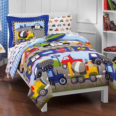 Pick up style with this truck-inspired twin bed set, featuring 5 piece and a construction motif. Set it in your little one's room to refresh the space and add style that she will love. Kids Comforter Sets, Kids Comforters, Toddler Comforter, Boy Bedding, Blue Comforter, Toddler Bed, Big Boy Bedrooms, Kids Bedroom, Bedroom Ideas