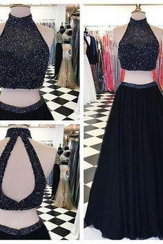 Beaded Bodice High Neck 2 Pieces Prom Dresses,Black Prom Dresses,Shiny Long…