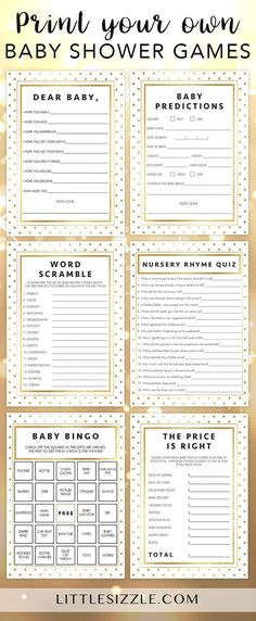 Gold baby shower ideas by LittleSizzle. Print your own gold glitter baby shower games and keep your guests entertained during the party. This gold dots baby shower game pack is perfect for any neutral baby shower and includes all the fun, easy and popular games you need. Create meaningful keepsakes for mom-to-be with our baby wishes cards and advice cards and entertain large groups of guests with baby bingo and the price is right. #babyshowergames #babyshowerideas #neutral #gold #printable…