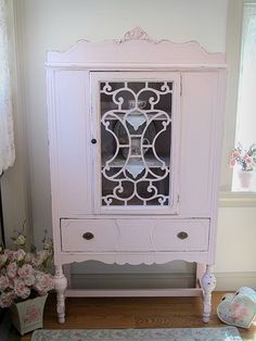 Pretty in Pink Antique China Cabinet