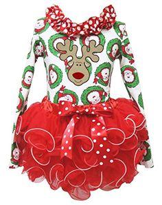 47ac38b3fe8 Amazon.com  Christmas Dress Reindeer Santa Claus L s Shirt Red Petal Skirt Girl  Outfit 1-8y  Clothing