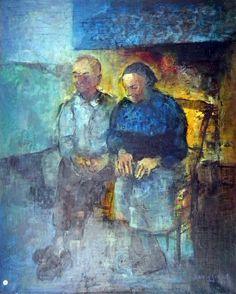 J'ai voulu avec ces deux vieux maraîchins symboliser la résignation devant le foyer dans un intérieur traditionnel, comme des générations de nos aïeux ont vécu leur fin de vie, côte à côte.C'est pourquoi je me susi inspiré de portraits comme celui d'un voisin de mes parents à Saint Hilaire de Riez dont j'ai fait le portrait. Pour sa femme c'est mon arrière grand-mère qui vivait à la ferme du Petit-Verger toujours à Saint Hilaire que j'ai voulu représenter.