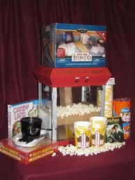 Movie Basket (I would leave out the games and put them in another basket-the popper and movie(s) are awesome by themselves) Theme Baskets, Gift Baskets, School Auction Baskets, Bingo, Movie Basket, School Fun, School Ideas, Team Mom, Silent Auction