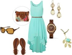 """""""Untitled - High-Low dress, leather accents, teal, etc."""" by ask-taylor on Polyvore"""