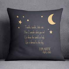 Lullaby, Little star pillow, Moon and stars pillow cover  These pillows are made to be special. You are able to add custom text and make your