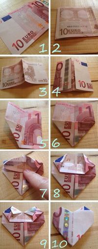Hartje-vouwen-van-geld – Origami Community : Explore the best and the most trending origami Ideas and easy origami Tutorial Homemade Gifts, Diy Gifts, Best Gifts, Diy And Crafts, Arts And Crafts, Paper Crafts, Don D'argent, Wedding Gifts, Birthday Gifts