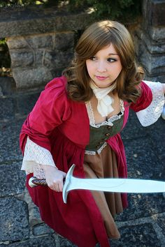 Hobbit female character with a Bilbo Baggins or Frodo sword