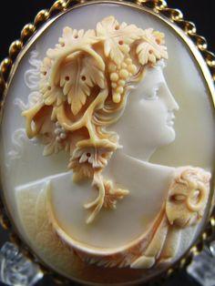 XLarge 14k Horned Helmet Shell Cameo Brooch of Ariadne or Bacchus Vivien's Treasure   Wonderland at Rubylane.com