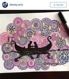 69 super ideas for drawing cute disney artists Mandala Doodle, Mandala Art Lesson, Doodle Art Drawing, Art Drawings Sketches, Disney Drawings, Drawing Disney, Disney Doodles, Mandalas Painting, Mandalas Drawing
