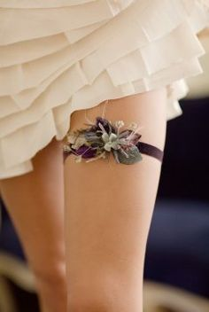 Custom Bridal Garter - love the colour combination!
