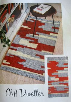 Vintage this crochet pattern contains directions for a crocheted rug that bears a Southwestern or Indian type motif. The rug is worked in three colors of Heavy Rug Yarn, with fringed ends. Modern Crochet, Crochet Home, Vintage Crochet, Vintage Rugs, Free Crochet, Knit Rug, Rug Yarn, Crochet Rug Patterns, Crochet Rugs