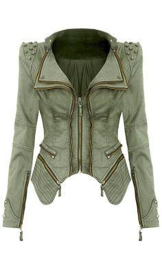 Studded Shoulder Denim Blazer - Olive Green