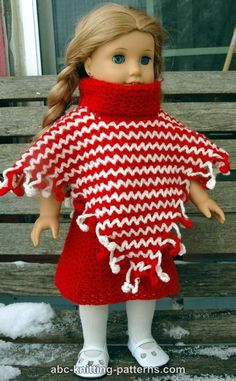 ABC Knitting Patterns - American Girl Doll V-Stitch Two-Color Poncho with Crochet Fringe