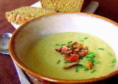 Irish Potato and Leek Soup. Traditionally served with buttered, brown soda bread, lassie.