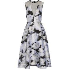 Lela Rose - Tulle-paneled Pleated Metallic Fil Coupé Midi Dress ($682) ❤ liked on Polyvore featuring dresses, silver, metallic mini dress, metallic dress, white dress, white mini dress and midi cocktail dress