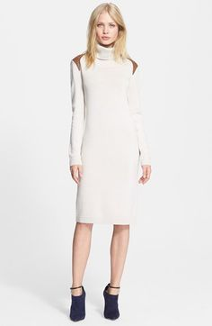 Free shipping and returns on Haute Hippie Leather Trim Turtleneck Sweater Dress at Nordstrom.com. Earthy faux-leather trim lends an understated rugged aesthetic to a fine-gauge wool sweater-dress topped by a ribbed turtleneck collar.
