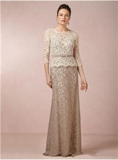 Floor-Length Scoop Chic 3/4 Sleeve Sheath Lace Mother Of The Bride Dress Wollongong