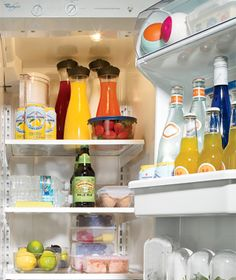 TOP SHELF:If you buy drinks in bulk, transfer gallons into easier-to-pour carafes that make use of vertical space.  Keep the originals in a second refrigerator,, or not, if it's not necessary.    MIDDLE SHELF: Eggs absorb odors, so put them in an airtight egg bin in the coldest part of the refrigerator-rather than the warmer door.