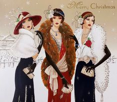 Blue, Red - 5 X Clintons Art Deco Lady Glitter Large Beautiful Christmas Cards Art Deco Illustration, Illustrations, Christmas Fashion, Christmas Art, Beautiful Christmas, Xmas, Art Deco Cards, Art Deco Stil, Retro Mode