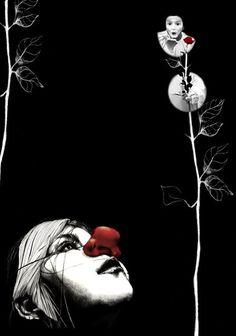 Illustration of a mime done in pencil, watercolor, graphite and color. Ilustración de Una Mima hecho en lápiz, acuarela, grafito y color.