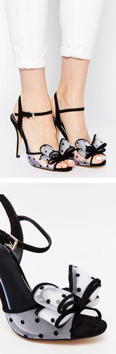 Dot & bow mesh heels