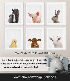 Farm animal prints Farmhouse nursery Horse Pig Bunny Chick
