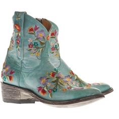 ☯☮ॐ American Hippie Bohemian Style ~ Boho Turquoise Embroidered Ankle Boots!