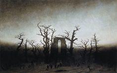 """Caspar David Friedrich, """"The Abbey in the Oakwood""""  1810  oil on canvas.  National Gallery , Berlin"""