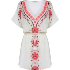 Embroidered Kaftan ($27) ❤ liked on Polyvore featuring tops, tunics, caftan tunic, holiday tops, white embroidered top, evening tops and white embroidered tunic