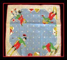 Vintage Children's Hanky 1950's Winter Sports Unused with Label on rubylane.com