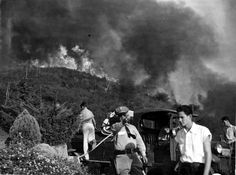 Officer Harold Coombs of the Glendale Police Department at the Indian Springs Road fire, circa 1940s.