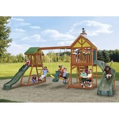 Big Backyard by Solowave® 'Westwood' Play System Backyard Swing Sets, Big Backyard, Outdoor Forts, Outdoor Play, Outdoor Spaces, Cedar Lumber, Chalk Wall, Canada Shopping, Roof Panels