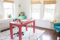 Fun and inspiring home office in Heather Sherrod's Houston TX home #home #office #theeverygirl