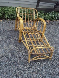 VINTAGE ART DECO RATTAN CHAISE LOUNGE STICK WICKER CHAIR BAMBOO ANTIQUE RARE