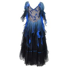 1980s Zandra Rhodes ombre chiffon & silver lace gown | From a collection of rare vintage evening dresses at http://www.1stdibs.com/fashion/clothing/evening-dresses/