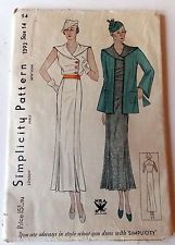 1930's Simplicity Ladies' Dress Pattern 1393, Size 14