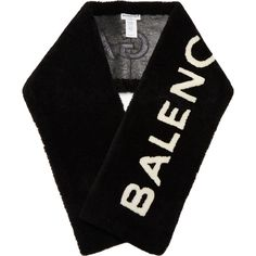 Balenciaga Shearling logo scarf ($2,550) ❤ liked on Polyvore featuring accessories, scarves, black white, balenciaga, logo scarves, black and white scarves and black and white shawl