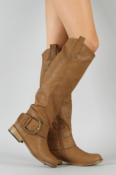 Bamboo Parksville-01 Buckle Riding Knee High Boot