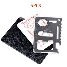 TTOBS 11 in 1 Credit Card Wallet Knife Stainless Steel Survival Utility Perfect Tool for Bug Out Bag Camping Fishing Include Knife Saw Bottle Opener Head Screwdriver 4 Position Wrench and More (5PCS)