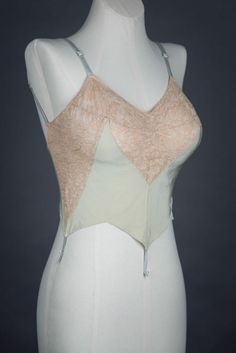 Low back silk and lace bra by Cadolle, c. 1930s The Underpinnings Museum shot by Tigz Rice Studios 2017