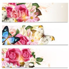 Flowers and butterflies banners vectors 01 free