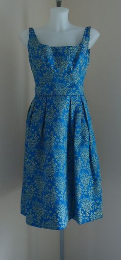 Vintage 1950s Rappi Inc. Blue and Cream brocade Evening Cocktail Prom Dress on Etsy, $256.38 CAD