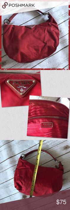 "Authentic Prada Red Small Hobo Shoulder Handbag Authentic Prada Beautiful deep red color Great for a first high-end bag! Has several water stains that are not visible unless seen up close (see photographs, can take additional if needed) - priced accordingly to account for water stains Measurements: 12"" wide approx, 7.5"" tall approx, 10"" handle drop **Please read first 2 comments** Prada Bags Hobos"