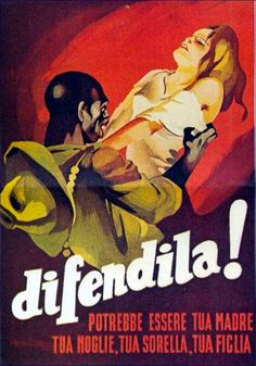 """Extremely racist poster from Italian Fascist Regime attempting to encourage Italians to resist the non-white """"hordes"""" invading Italy"""