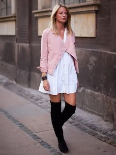 Suede Over the Knee Boots & Jacket.