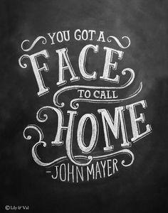 Chalkboard Art Print - John Mayer Lyrics