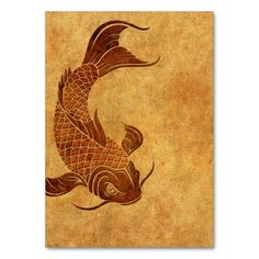 Vintage Worn Koi Fish Design Business Card Templates